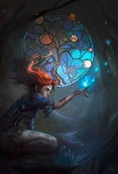 Young redhead sorceress