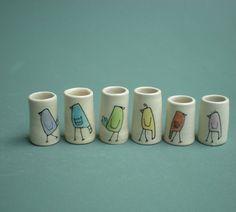 Rainbow Bird Vases by catherinereece on Etsy