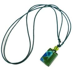 Green Zig-Zag Small Fused Glass Pendant Necklace - Tili Glass