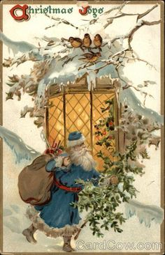 Little birds on a snowy branch watch as Santa (with his pack of toys and a tree) passes by... ~ (vintage card, Christmas birds)
