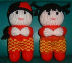 Boy and girl dolls.