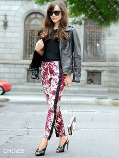 Red Loose Floral Pants   Choies