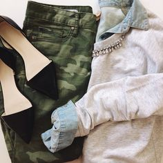 Camouflage skinny pants | camo | light chambray shirt | cardigan | black flat | feminine | edgy outfit