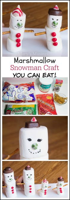 Your kids will love this Marshmallow Snowman craft from Marty's Musings that is even more fun to eat! Great activity for snow days and long winter days at home. Use candies and baking supplies to add details and let your kids be creative.