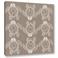 Shanni Welsh Sand Turtle Pattern Graphic Art on Wrapped Canvas