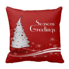 Festive Red Christmas Throw Pillow