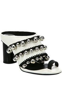 8c95674d3d7 Proenza Schouler silver bells crochet-trim leather mule sandals Zapatillas