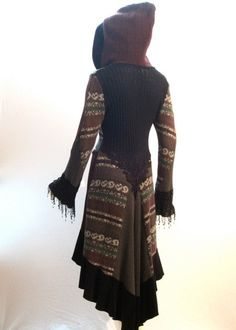 Recycled Sweater Coat in Black Charcoal Burgundy by ipseity, Redo Clothes, Clothing Hacks, Upcycled Clothing, Diy Vetement, Do It Yourself Fashion, Recycled Sweaters, Textiles, Altered Couture, Recycled Fashion