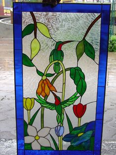 Resting Hummingbird Stained GLass Window
