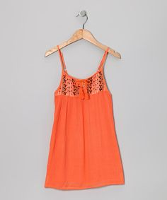 Take a look at this Orange Embroidered Tie-Front Dress - Toddler & Girls by Raya Sun on #zulily today!