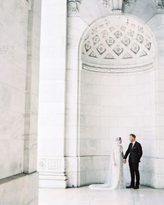 Talk about elegant! A #NewYorkPublicLibrary #wedding is on our dream list of ceremonies to attend! Would you wed here? Photography: @darcybenincosa   Wedding Dress: @sab   Hair  Makeup: Angela Boswell   Venue: New York Public Library by stylemepretty