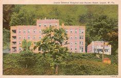 Postcard of The old Logan General Hospital in Logan, WV