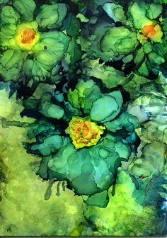 Blue Flowers by Maria Pazos Alcohol Inks