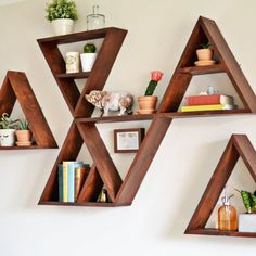 DIY triangle shelf tutorial. Instructions to make a single triangle shelf. Organize into your own pattern!