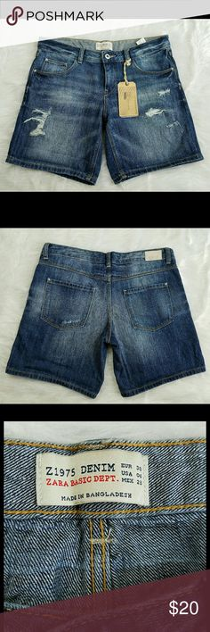 Zara Jean Shorts NWT Excellent condition, no stains or flaws.  Reasonable offers accepted, bundles discounted. Lowballers will immediately be declined. No trades. I can ship same or next day. Zara Shorts Jean Shorts