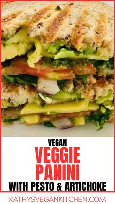 Try an Artichoke Vegan Pesto Vegetable Panini for a quick and easy dinner, ready in 20 minutes or less, Easy Vegan Dinner, Vegan Dinner Recipes, Vegan Dinners, Vegan Pesto, Artichoke, Sandwiches, Vegetables, Food, Meal