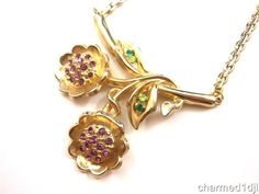"Vtg Rhinestone Flower Pendant Necklace Purple Green Stones Gold Tone 15""L 