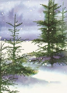 By Micheline Jourdain stamping card Watercolor Trees, Watercolor Cards, Watercolor Landscape, Landscape Art, Watercolor Paintings, Watercolors, Bird Paintings, Indian Paintings, Watercolor Portraits