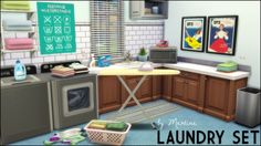 Sims 4 Updates: Set includes: Vintage Laundry Prints - 3 designs Laundry Poster Clothing Irons - 10 designs Ironing Boards - 3 sets: stripes (4), polka dot (4) and pattern, Custom Content Download!