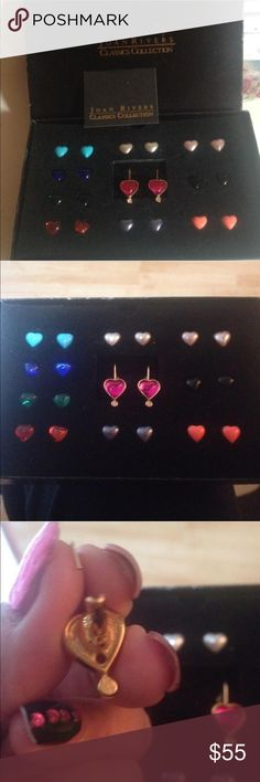 RARE Joan Rivers Earring Collection  Used in original box with paperwork Rare Joan Rivers Classic Collection of 10 interchangeable colored hearts. They fit in a gold setting & are magnetized on the back. Pops out easily with a pin (I'll include 1). Gorgeous collection. I just have too much jewelry & don't find myself wearing as much as it deserves. No trades (2-15) Joan Rivers Jewelry Earrings