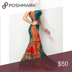 🔥❤Bohemian tribal print maxi, mermaid style❤️🔥 Bohemian tribe print dress🏝🏝🏝spandex material. Mermaid style maxi dress😘😘I am 5 foot 2, with heels the dress just touches floor. More sizes to come! Dresses Maxi