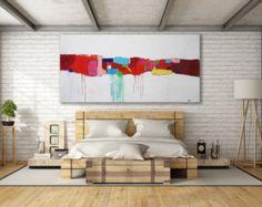 XL blanco y negro abstracto arte pintura / por MichelleAndreaArt