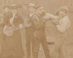 Incongruous Group of Boxers and Banjo Cabinet Card Photograph collection Jim Linderman