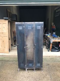 old 3 door vintage lockers for sale been stripped of all paint a few dings