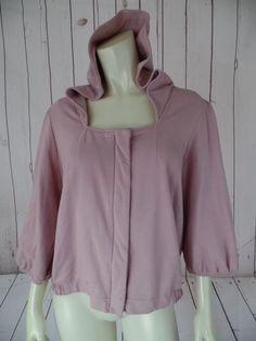 SUNDAY MONDAY ANTHROPOLOGIE Jacket Hoodie XL Pink Stretch Cotton Knit SwingRETRO #SundayMondayAnthropologie #HoodieSweatJacket