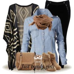 Aztec cardigan with denim shirt,Chic winter casual outfits http://www.justtrendygirls.com/chic-winter-casual-outfits/