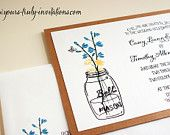 Mason Jar with Wildflowers Wedding Invitation Suite