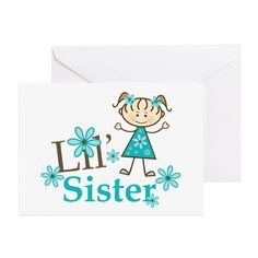 Little Sister Stick Figure Greeting Card on CafePress.com