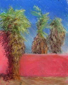 "Palms in the Pink, 9"" x 12"", $425  pastel and watercolor"