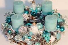 Customer order Beautiful Advent vine wreath (frosty-glitter) vine wreath, ca . Christmas Candles, Christmas Home, Christmas Wreaths, Christmas Decorations, Holiday Decor, Turquoise Christmas, Vine Wreath, Candle Art, Turquoise And Purple