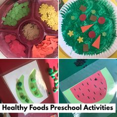 Let's have some fun activities teaching kids healthy eating with making a salad with shapes, counting peas in a pod, and using fine motor skills to put black beans as seeds on the watermelon