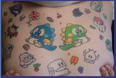 Twin Bubble Dragons Bub and Bob Tattoo. Bubble Bobble Video Game Tattoo