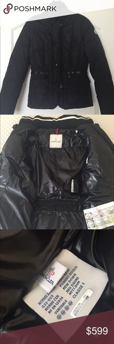 """Moncler black down puffer jacket fitted 1 Small Guaranteed authentic, Moncler down jacket. The model is called """"Tresor"""", hard to find. Released for the European market; purchased this jacket in France. I wore it only a few times.  Don't really need it in hot Texas weather. Great condition! Size 1. Compares to US 2/4; small, close fitting. Chest: 17"""" Shoulder to shoulder: 15.2"""" Waist: 15"""" Length: 23"""" Sleeve: 24"""" It is very warm. Has a wool knit part around the collar. Closes with a zip and/or…"""