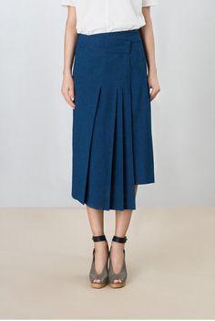 lemaire _indigo coton chambray skirt