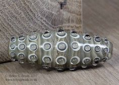 Bumpy Lampwork Bicone Bead in ivory beige and brown by Helen