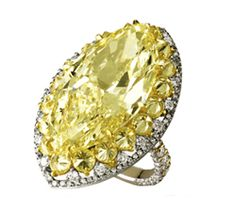 18k gold, canary & white diamond ring