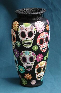 day of the dead sugar skulls vase
