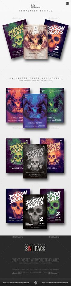 Pack of three creative A3 size posters / flyers for different styles of electronic music events like drum and bass, electronica, dubstep, psycore, techno, techstep, neurofunk, progressive, hardcore, jungle, hardstyle,... guest DJs night parties and sessions…