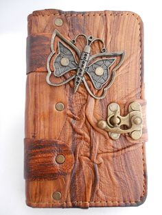 Handmade samsung galaxy note 4 Leather  Case / Leather galaxy note 4 Cover / handmade leather case with Butterfly pendant & by Smyrnacrafts on Etsy