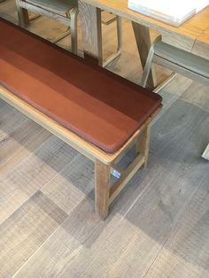 Oak bench leather cushion