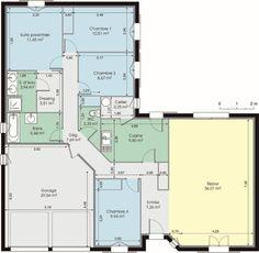 maison familiale 4 chambres avec bureau terrasse garage et cellier planos de planta pinterest bureaus and garage - Plan De Maison Plain Pied En U