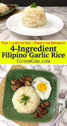 Don't throw away your leftover rice! Make this Filipino Garlic Ri… Don't throw away your leftover rice! Make this Filipino Garlic Rice instead. It's so incredibly easy with only You can have a delicious side ready in 15 minutes! Side Dish Recipes, Asian Recipes, Dinner Recipes, Easy Filipino Recipes, Filipino Appetizers, Garlic Fried Rice, Garlic Rice Recipe, Spam Fried Rice, Garlic Parmesan