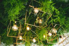 Green leaves + geometric gold lanterns by the style co | Wedding Style Inspiration by Marigold Paper