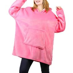 Made of ultra-soft fleece and lined with warming. One size fits all- roomy enough to cover you from head to toe Extra large hood keeps your head comfy and warm Hooded Sweater, Sweater Coats, Sweaters, Holiday Sweater, Winter Colors, Head To Toe, One Size Fits All, Coral, Tunic Tops
