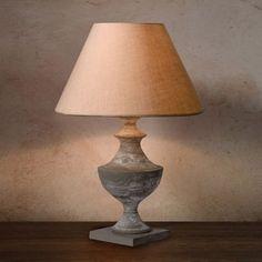 Lampe  poser pied ovale en bois avec abat jour en lin hauteur 30cm Itto