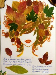 Autumn crafts in kindergarten - 2 page -, Autumn Crafts, Fall Crafts For Kids, Autumn Art, Nature Crafts, Art For Kids, Leaf Flowers, Dried Flowers, Leaf Projects, Leaf Crafts